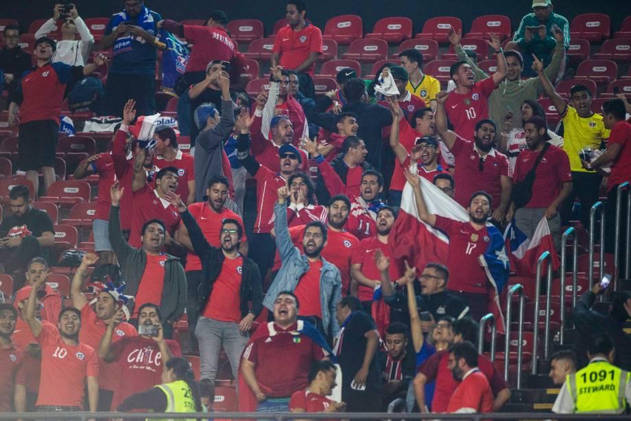 Torcedores do Chile são vistos nas arquibancadas do Estádio do Morumbi, em São Paulo (SP), durante partida contra o Japão - 17/06/2019