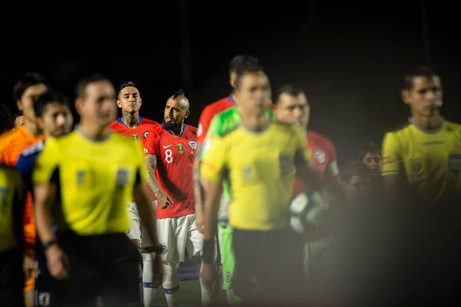 Seleção chilena entra em campo para a estreia na Copa América 2019 contra o Japão
