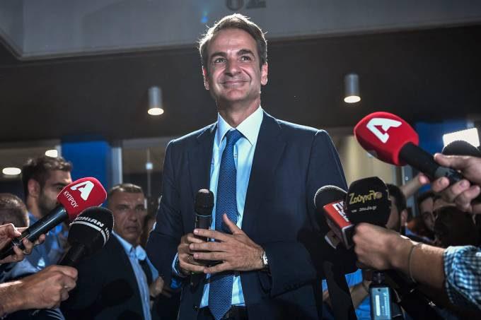 O líder do partido conservador New Democracy Kyriakos Mitsotakis