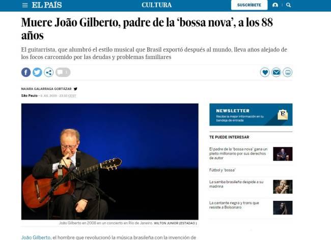 Imprensa internacional destaca morte de João Gilberto: 'luz da Bossa Nova'