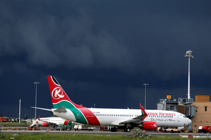 FILE PHOTO: Kenya Airways planes are seen parked during a pilots strike organised by KALPA at the Jomo Kenyatta International airport near Kenya's capital Nairobi
