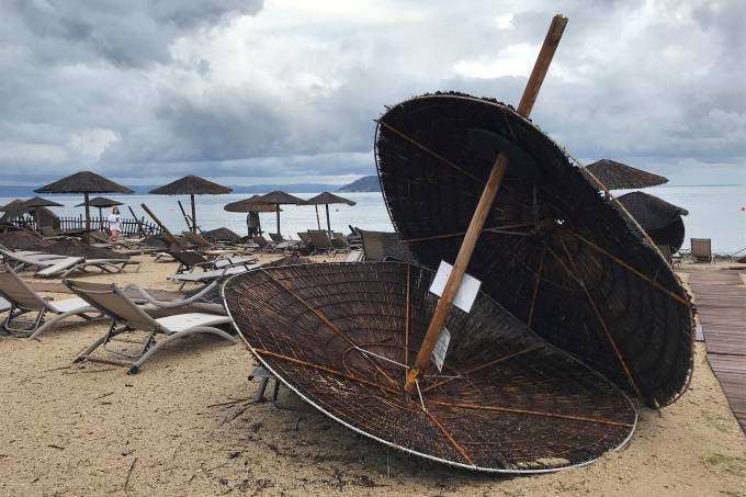 Damages at the beach at a hotel in Porto Carras after severe weather hit Greece