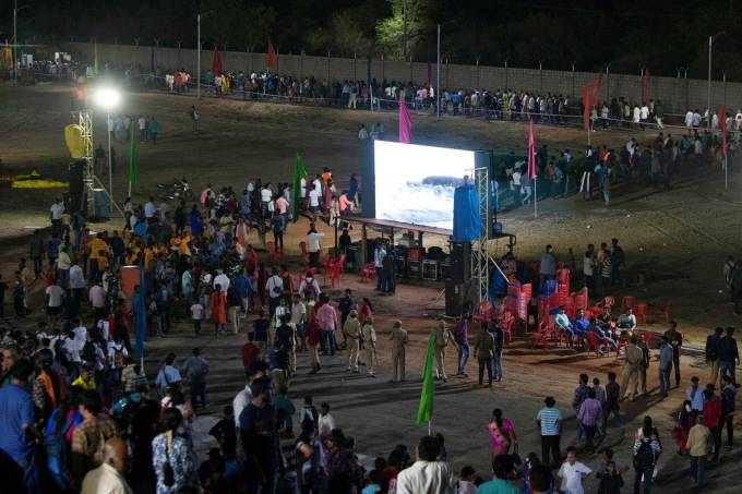 Spectators leave from a viewing gallery after India's second lunar mission, Chandrayaan-2, was called off, in Sriharikota