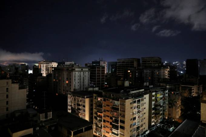 A general view is seen during a blackout in Caracas