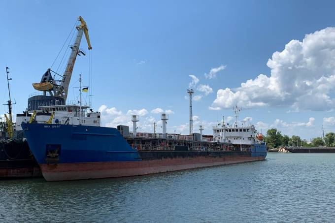 A view shows the Russian tanker Nika Spirit detained by Ukraine's security service in Izmail