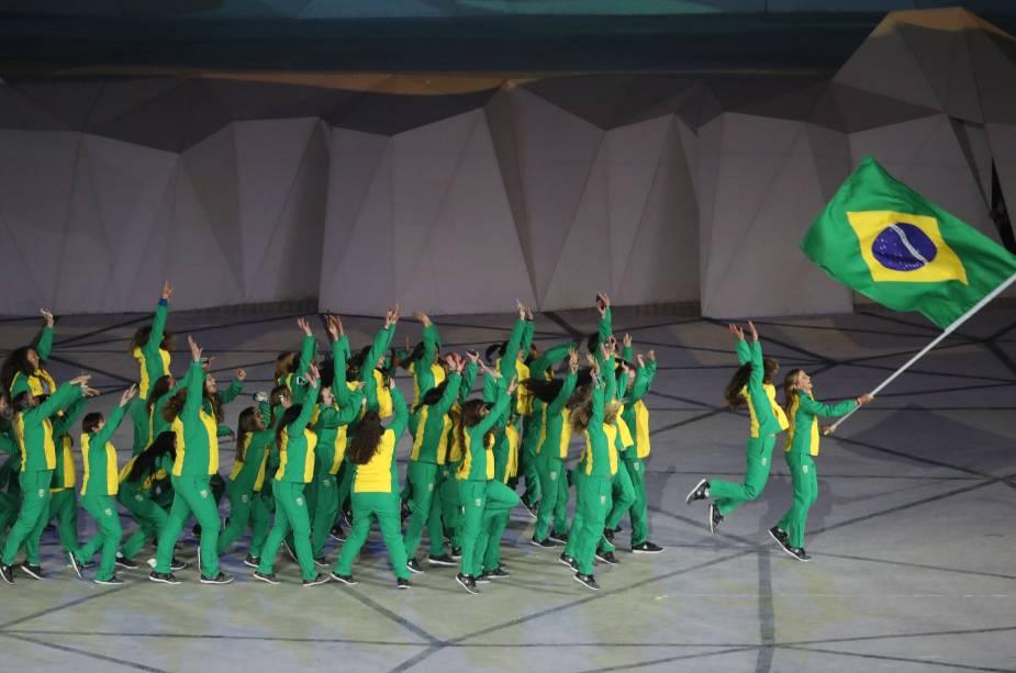A delegação do Brasil fez o seu desfile na cerimônia de abertura dos Jogos Pan americanos, em Lima, no Peru
