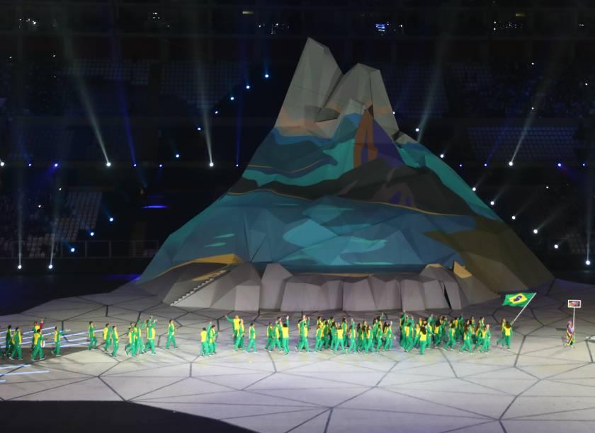 A delegação do Brasil fez o seu desfile na cerimônia de abertura dos Jogos Pan-Aamericanos, em Lima, no Peru