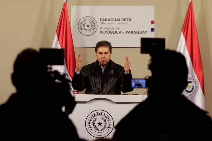 Paraguay's Foreign Minister Luis Alberto Castiglioni addresses the media in Asuncion