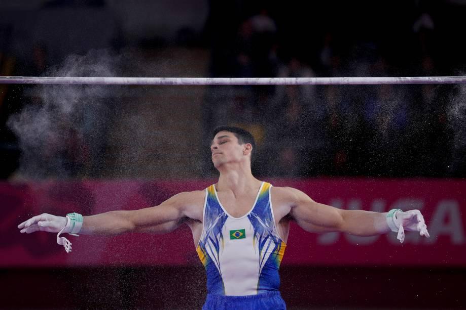 Chico Barretto, do Brasil, em ação onde garantiu o seu terceiro ouro nos Jogos Pan-Americanos 2019