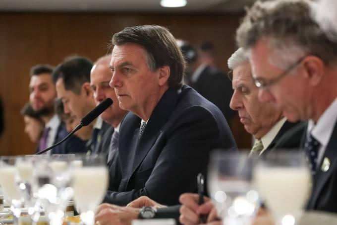 O presidente Jair Bolsonaro participa de café da manhã com jornalistas