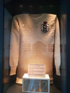Camisa da Inglaterra de 1872 no Museu do Futebol de Manchester