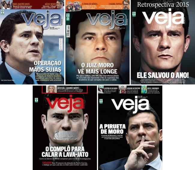 TRATADO COMO HERÓI - O ex-juiz Sergio Moro foi capa de VEJA em diversas oportunidades, a maioria a seu favor: embora ele tenha sido fundamental na luta contra a corrupção, não se pode fechar os olhos ante as irregularidades cometidas