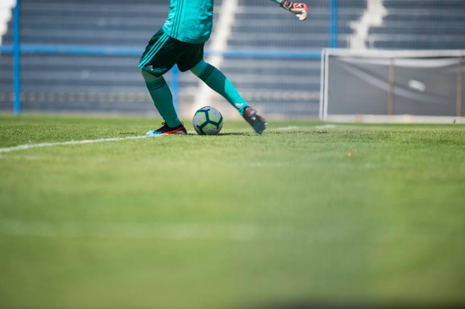 """<span style=""""font-weight:400;"""">FUTEBOL SUB20 - Goleiro Hugo, do Flamengo, em cobrança de tiro de meta durante partida válida pelo Campeonato Brasileiro Sub-20, no Parque São Jorge</span>"""