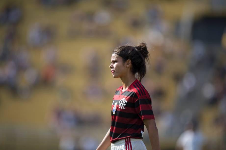 FUTEBOL FEMININO - Zagueira Daiana do Flamengo durante partida válida pelo Campeonato Brasileiro Feminino, no Pacaembu