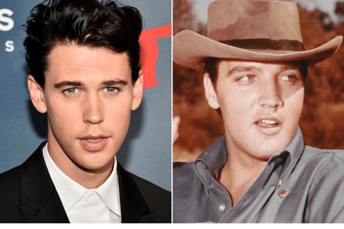 O ator Austin Butler e o cantor Elvis Presley