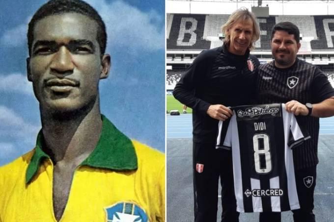Ricardo Gareca, técnico do Peru, recebeu de Eduardo Barroca, treinador do Botafogo, uma camisa de Didi, ídolo do dois países