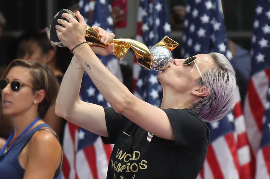 Megan Rapinoe comemora a conquista da Copa do Mundo pela seleção feminina de futebol dos Estados Unidos em Nova York - 10/07/2019