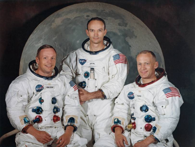 Da esquerda para a direita, Neil Armstrong, Michael Collins e Buzz Aldrin, astronautas da missão Apollo 11