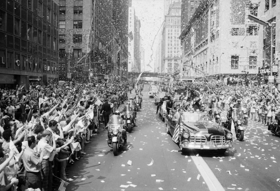Astronuatas da Apollo 11 são recebidos em Nova York - 13/08/1969