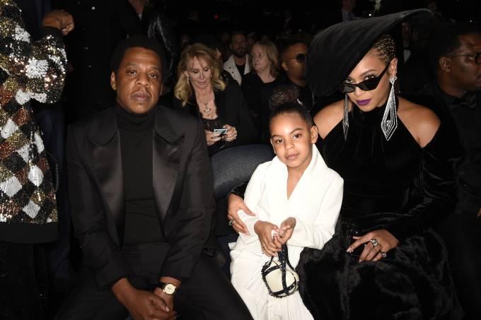 Jay-Z, Blue Ivy e Beyoncé na edição de 2018 do Grammy