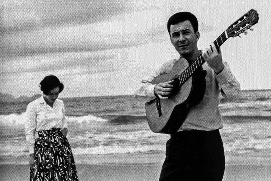 ...na praia com a primeira mulher, Astrud, que participou do lendário álbum 'Getz/Gilberto', de 1964...