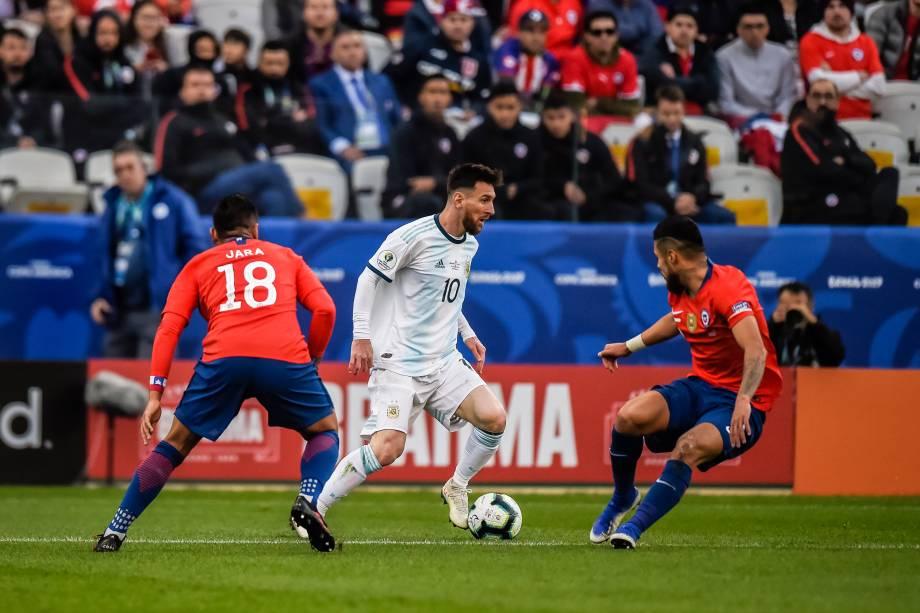 Lionel Messi durante partida contra o Chile, válida pela disputa de terceiro lugar da Copa América