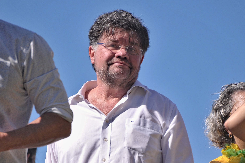 Marcelo Madureira durante protesto no Rio