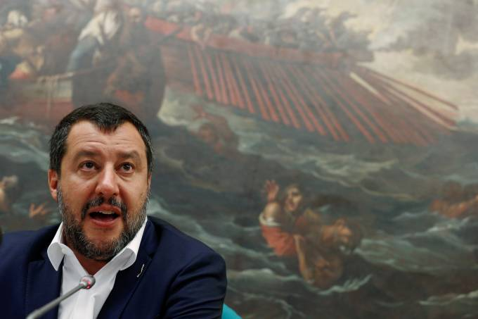 Italy's Interior Minister and Deputy Prime Minister Matteo Salvini holds a press conference at the Chambers of Deputies.