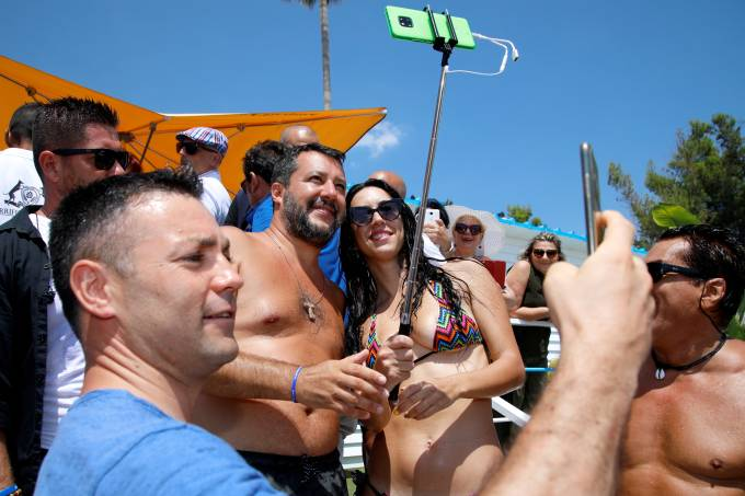 Italian Interior Minister Salvini meets supporters at the beach in Taormina