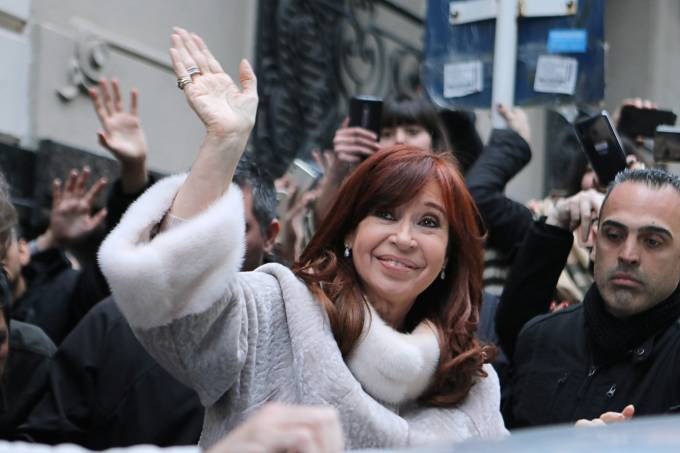 Former president Cristina Fernandez de Kirchner leaves a building after a meeting with presidential candidate Alberto Fernandez