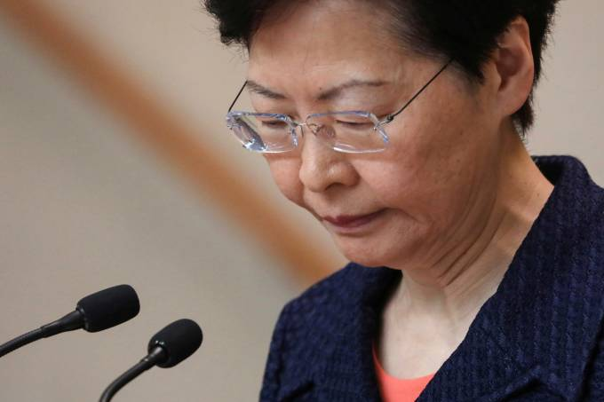 Hong Kong's Chief Executive Carrie Lam holds a news conference in Hong Kong