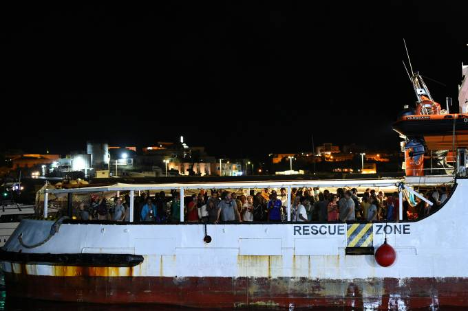 Spanish rescue ship Open Arms with migrants on board arrives in Lampedusa