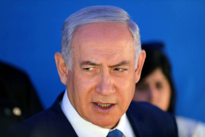 Israeli Prime Minister Benjamin Netanyahu speaks during a cornerstone-laying ceremony for Mobileye's center in Jerusalem