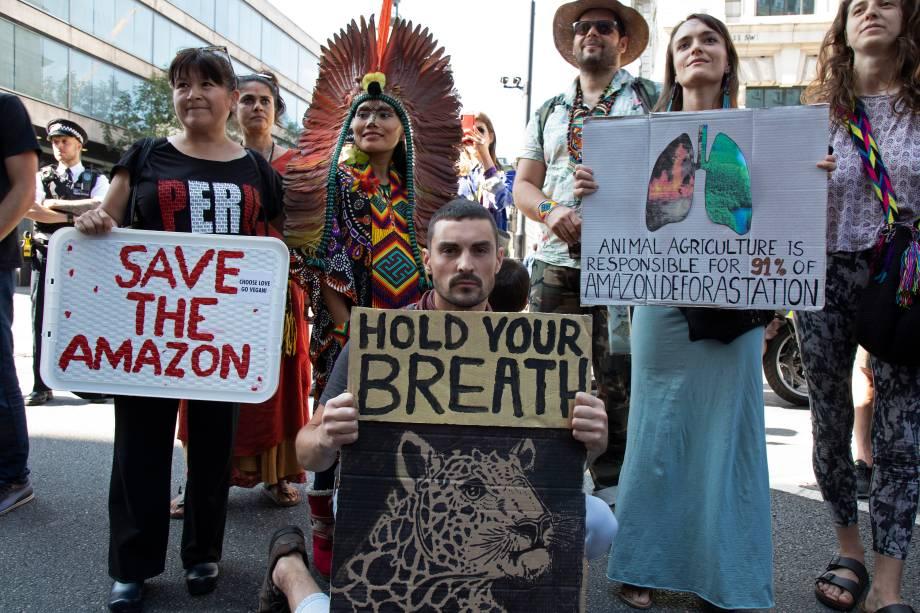 """Protesto organizado pela """"Extinction Rebellion"""" na Embaixada do Brasil em Londres, no Reino Unido"""