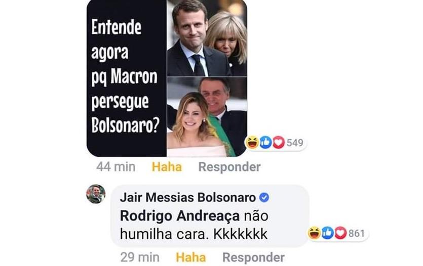 Jair Bolsonaro comentou sobre esposa de Macron