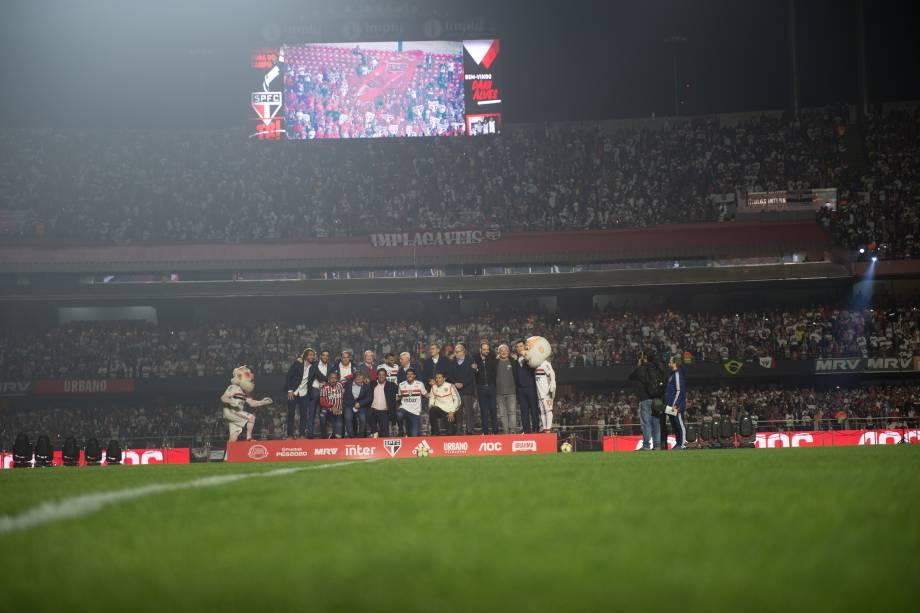 Ídolos do São Paulo reunidos; Diego Lugano, Raí, Hernanes, Kaká e Luis Fabiano