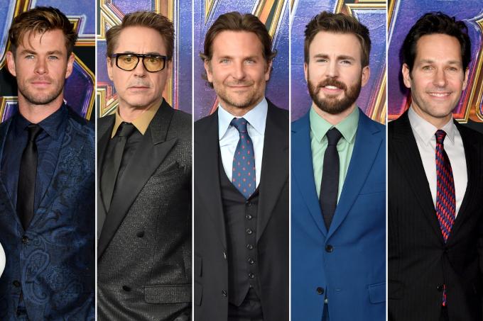 Chris Hemsworth, Robert Downey Jr., Bradley Cooper, Chris Evans e Paul Rudd