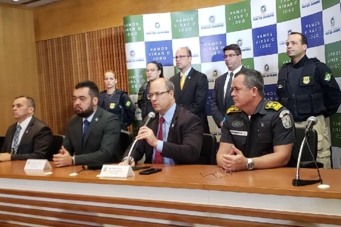 Coletiva de imprensa do governador do Rio de Janeiro, Wilson Witzel, sobre o sequestro de um ônibus na Ponte Rio-Niterói nesta terça-feira, 20