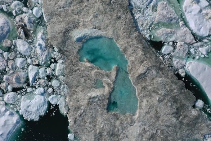 Derretimento de gelo na Groenlândia