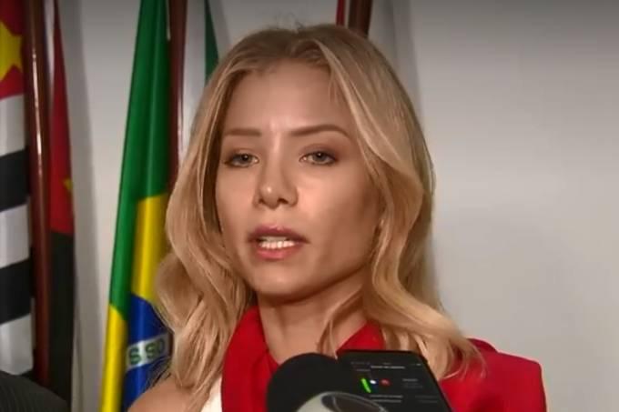 Najila Trindade concedeu entrevista no no 11º Distrito Policial de São Paulo