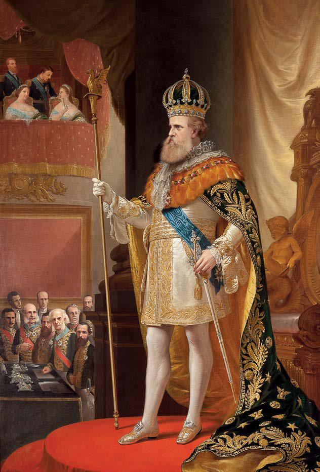 D. Pedro II na abertura da Assembleia Geral, em 3 de maio de 1872, após o retorno de sua primeira viagem ao exterior. Pedro Américo de Figueiredo e Mello, o.s.t., 1872.