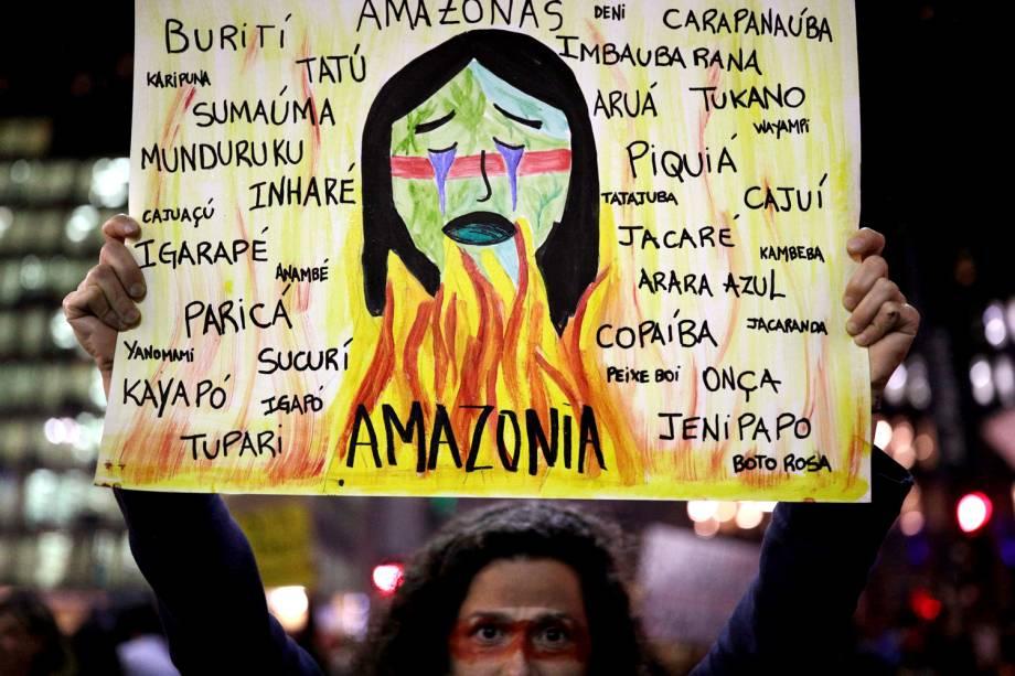 Manifestantes empunham cartazes em ato em frente ao Masp, na Avenida Paulista, em São Paulo - 23/8/2019