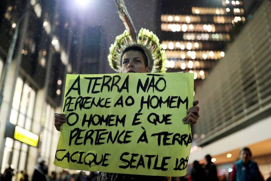 Ato na Avenida Paulista, em São Paulo, contra a política ambiental do governo Bolsonaro - 23/8/2019