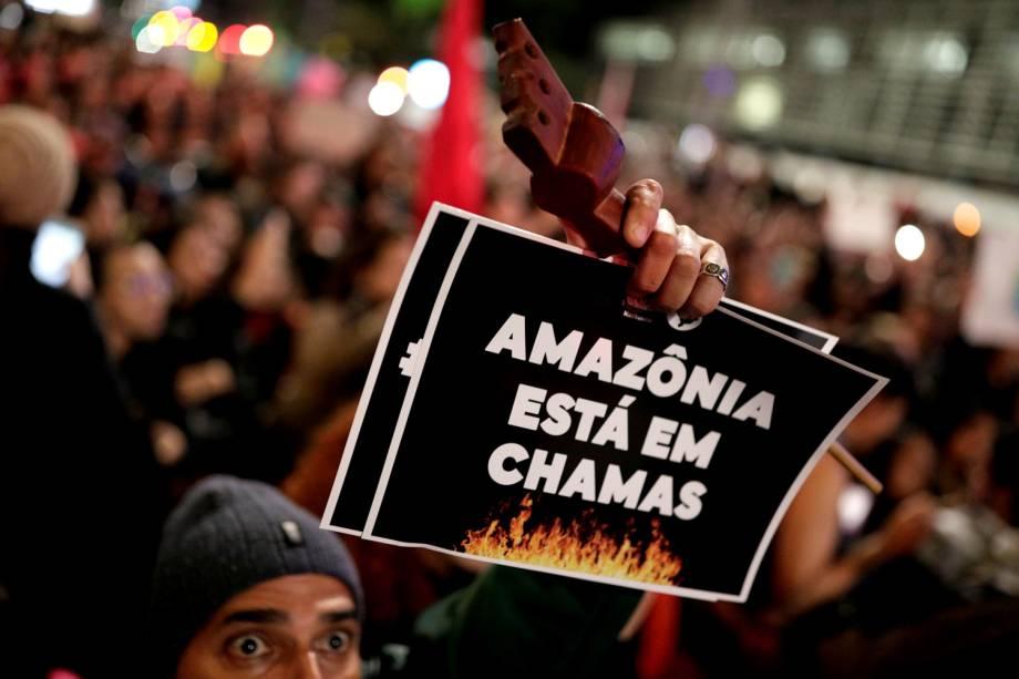 Maiores protestos em defesa da Amazônia no país ocorreram na Avenida Paulista (foto), no centro do Rio e em Brasília - 23/8/2019