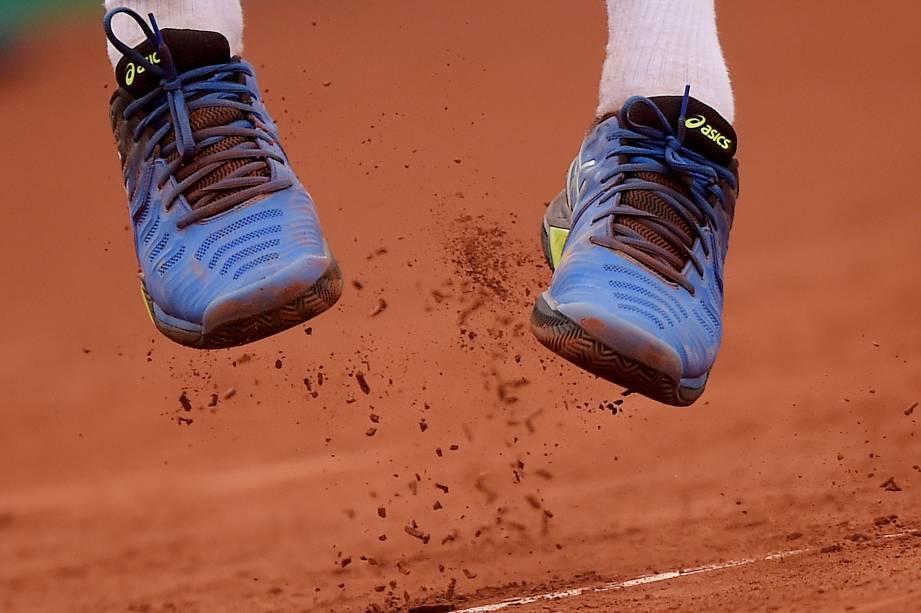 Thiago Wild, do Brasil, durante partida de tênis pelo simples masculino