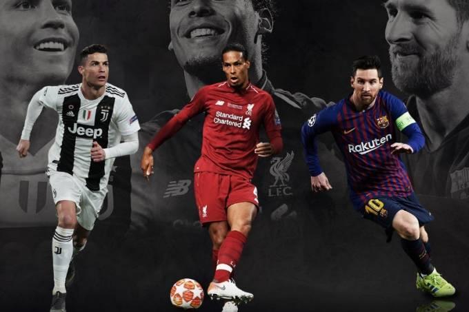 Cristiano, Van Dijk e Messi, o trio de finalistas ao prêmio de melhor do ano da Ueda