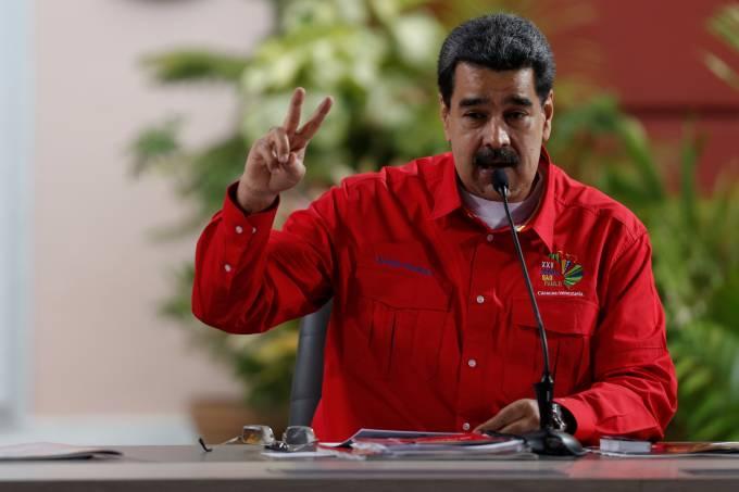 Presidente da Venezuela, Nicolás Maduro, durante reunião do Foro de São Paulo, em Caracas