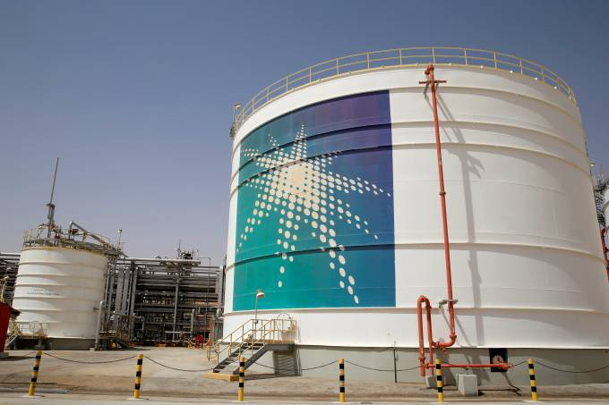FILE PHOTO: An Aramco oil tank is seen at the Production facility at Saudi Aramco's Shaybah oilfield in the Empty Quarter