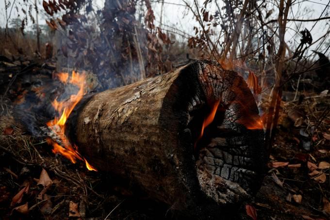 Incêndio na floresta amazônica em Apuí, no Estado do Amazonas