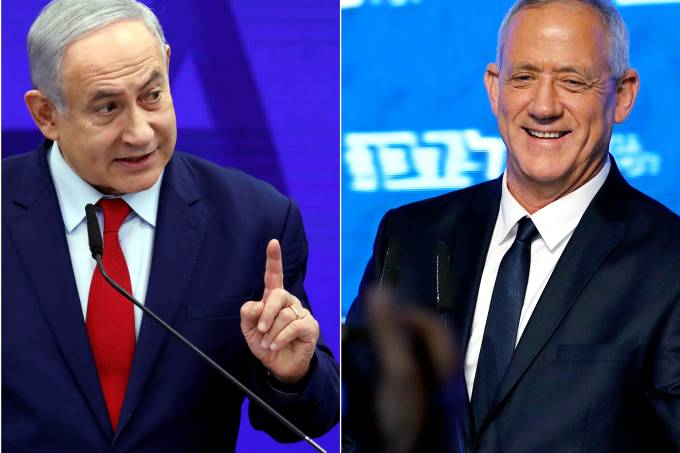 FILE PHOTO: A combination picture shows Israeli Prime Minister Benjamin Netanyahu in Ramat Gan, near Tel Aviv, Israel and Benny Gantz, head of Blue and White party in Tel Aviv, Israel